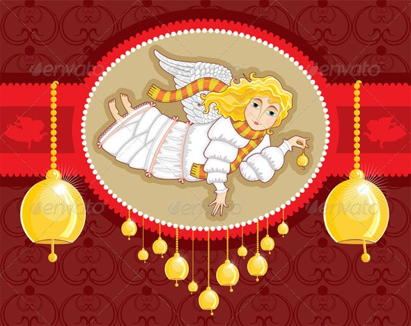 Christmas Card Angel Bell - Christmas Seasons/Holidays