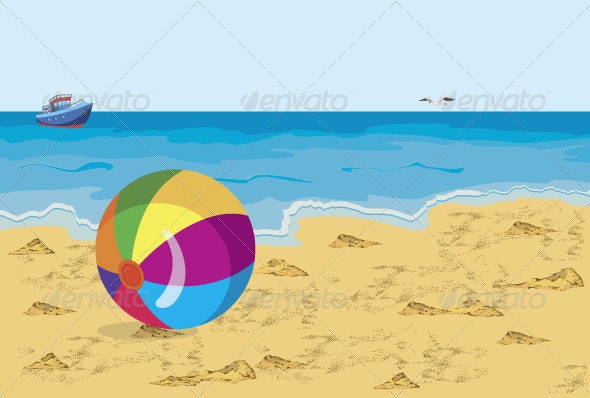 Big colorful ball on the beach seagull and ship - Travel Conceptual