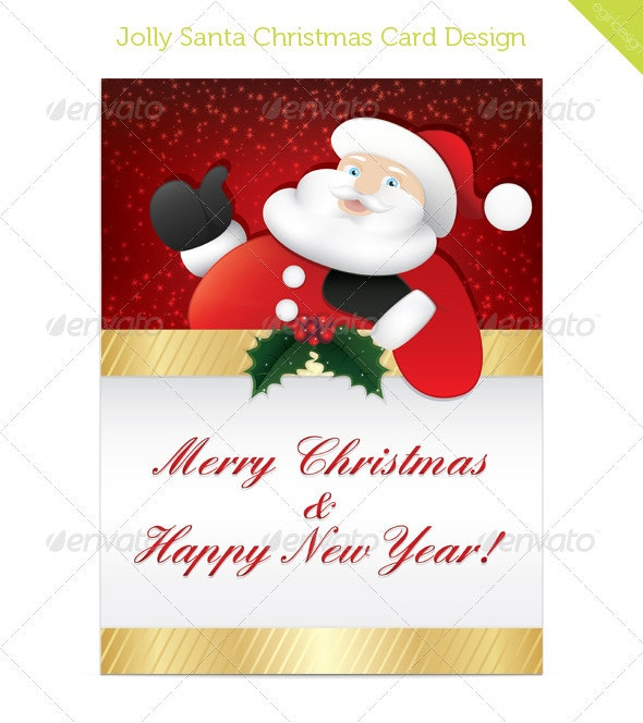Jolly Santa Christmas Card Design - Christmas Seasons/Holidays