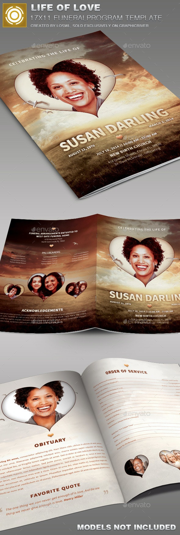 Life of Love Funeral Program Template 006 - Informational Brochures