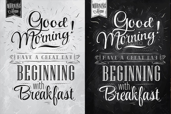 Poster Lettering Good Morning!  - Food Objects