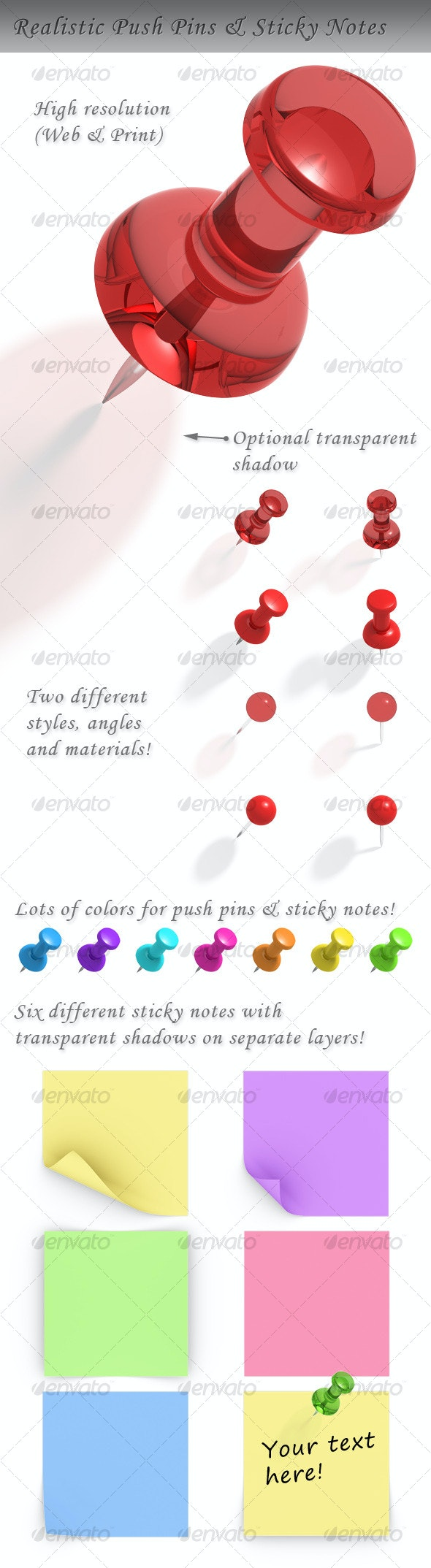 Push Pin and Sticky Note - Objects 3D Renders