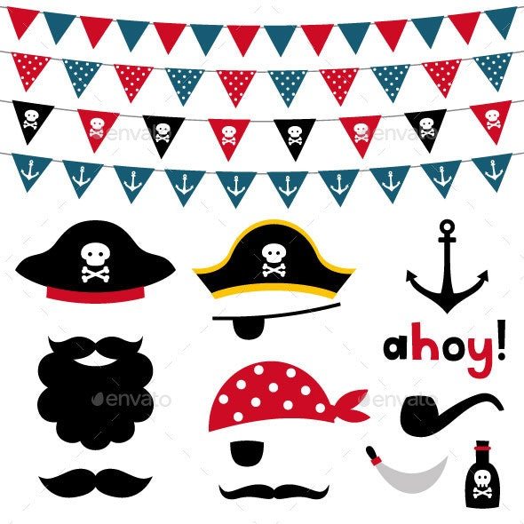 Pirate Photo Booth Props and Scrapbooking Set - People Characters
