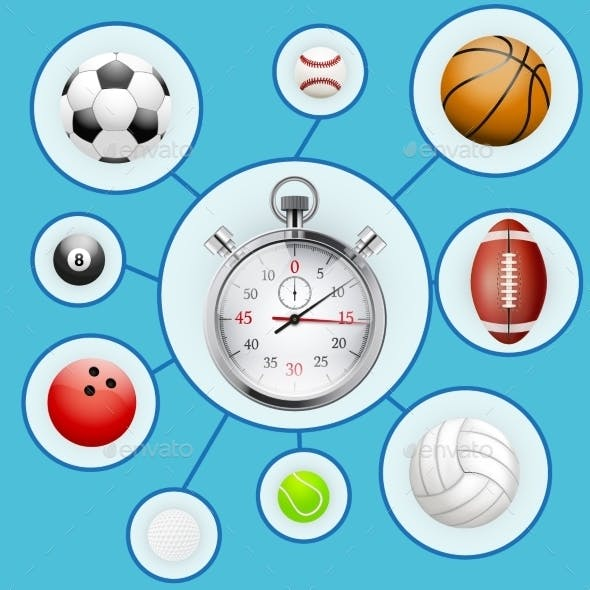 Realistic Sport balls and Stopwatch