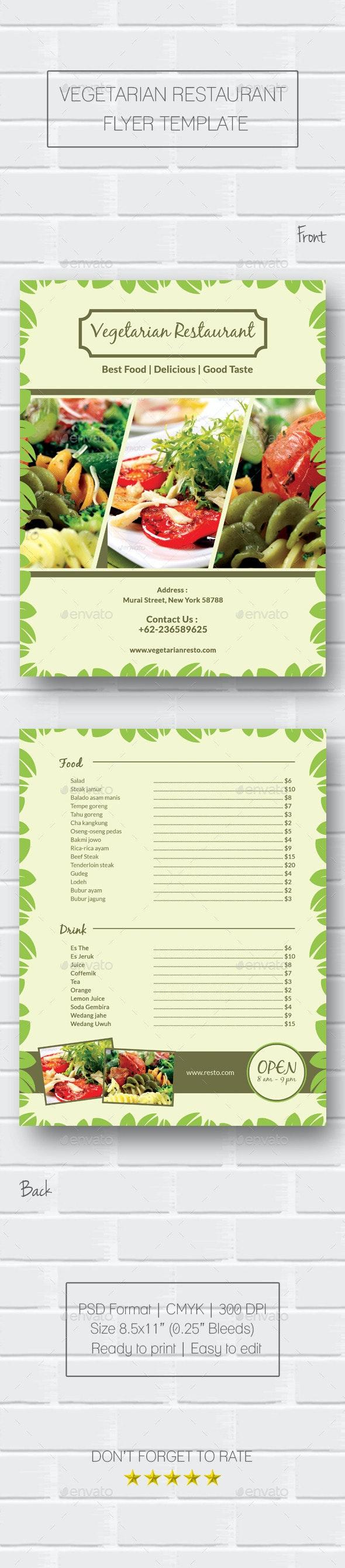 Vegetarian Restaurant Flyer - Food Menus Print Templates