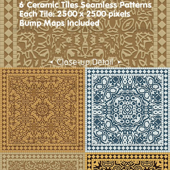 6 Ceramic Tiles Seamless Patterns