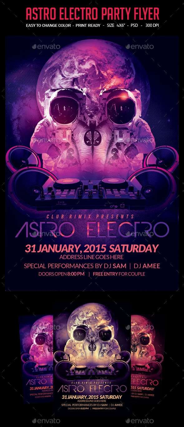 Astro Electro Party Flyer - Clubs & Parties Events