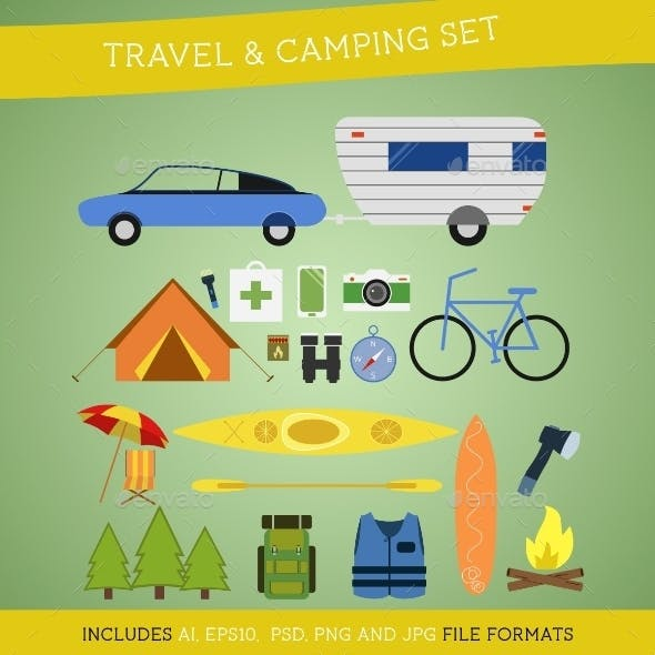 Set of Camping and Travel Elements
