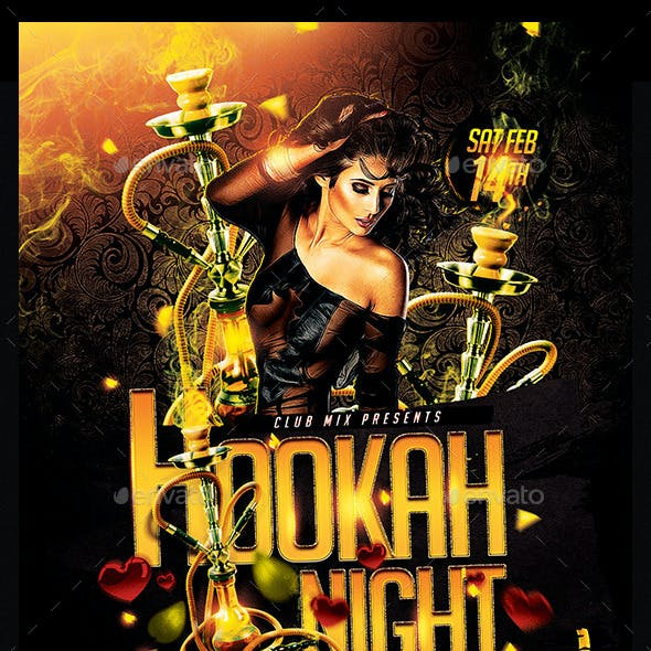 Hookah Night Valentines | Flyer Template PSD