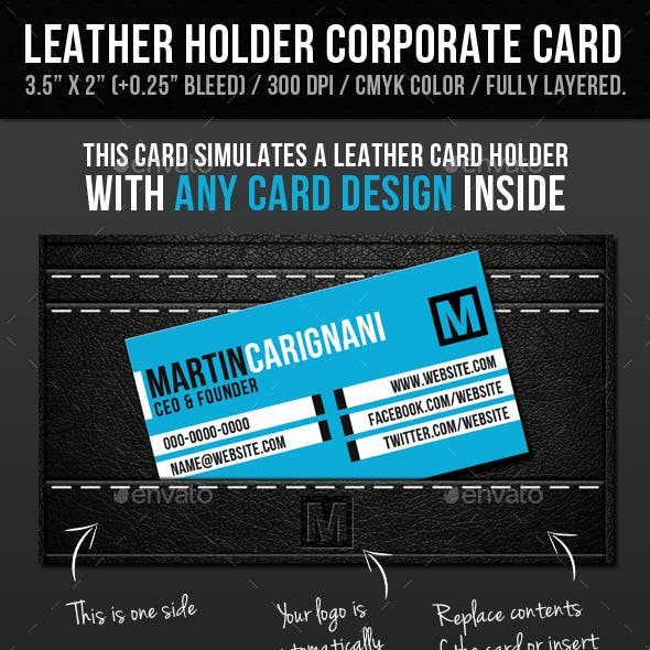 Black Corporate Leather Holder Card Design