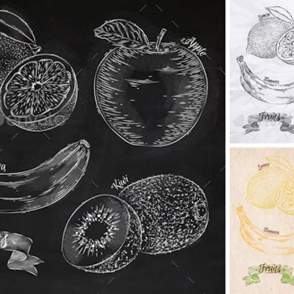 Fruits lemon, apple, banana, kiwi graphics.
