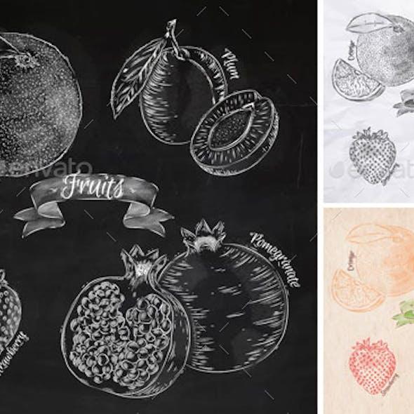 Fruits orange, pomegranate, strawberry graphics.