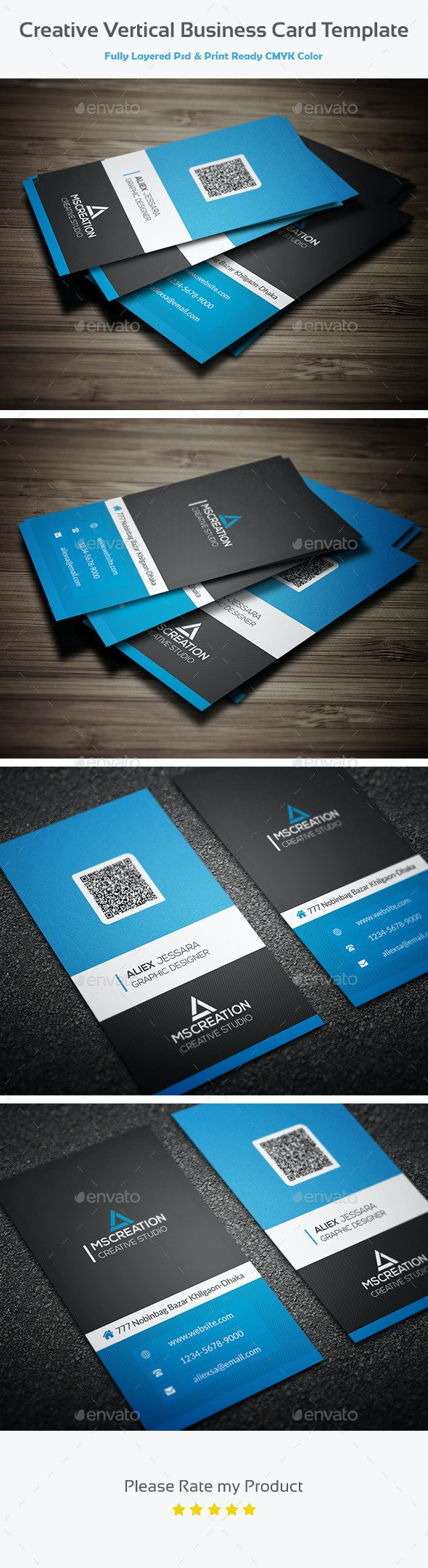 Creative Vertical Business card template 2 - Creative Business Cards