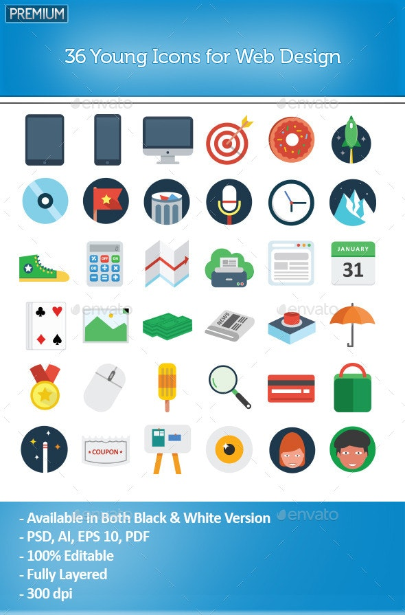 36 Young Icons for Web Design - Magic Pixelz - Web Icons