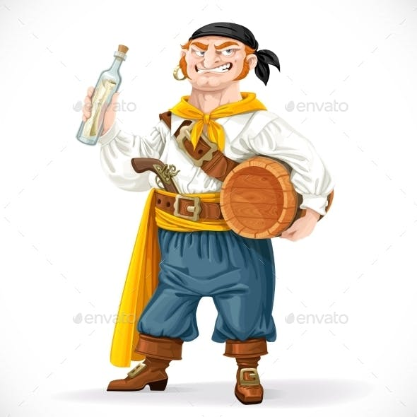 Pirate with a Barrel of Rum and a Bottle