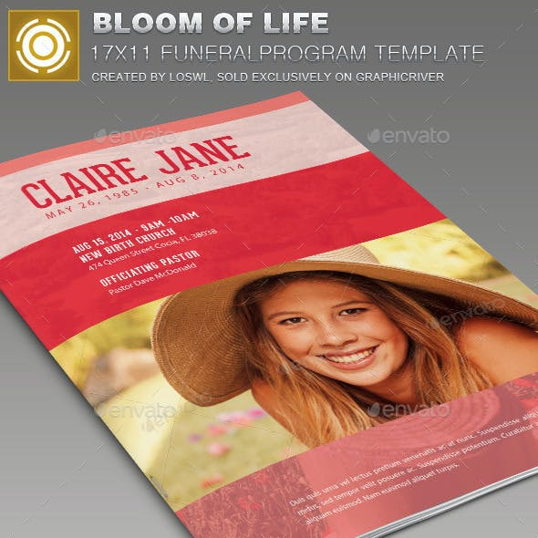 Bloom of Life Funeral Program Template 007
