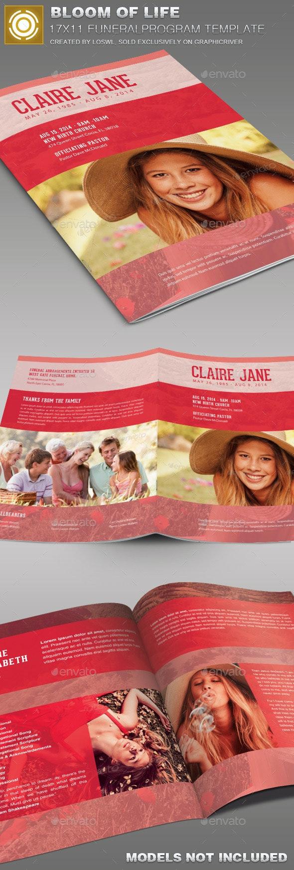 Bloom of Life Funeral Program Template 007 - Informational Brochures