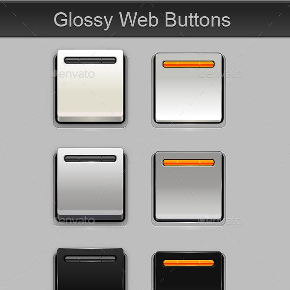 Glossy Square Web Buttons