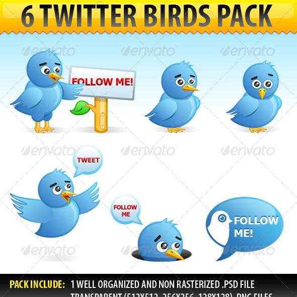 6 Twitter Birds pack