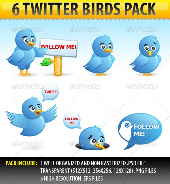 6 Twitter Birds pack - Characters Illustrations