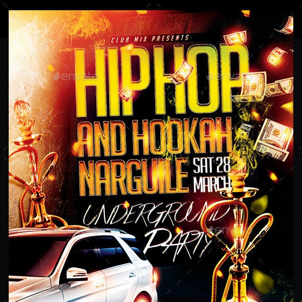 Hip Hop And Hookah Narguile | Flyer Template PSD