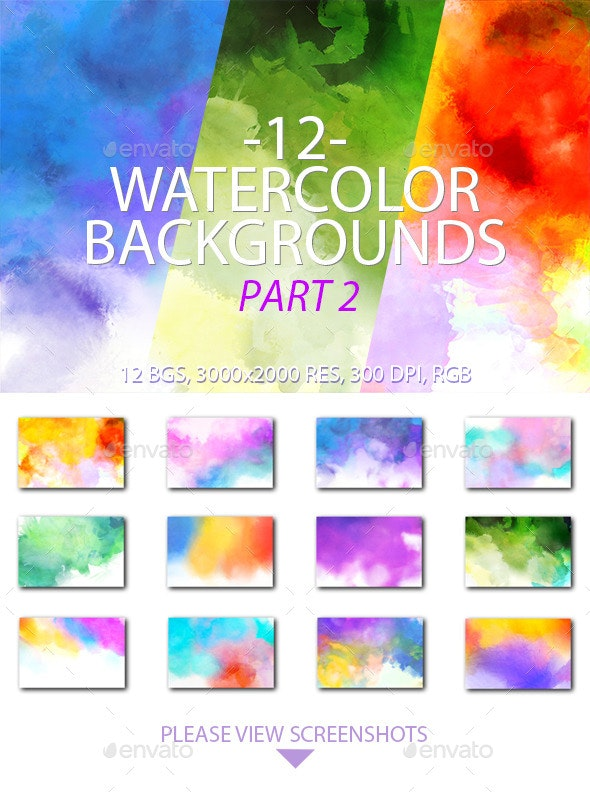 Watercolor Backgrounds Part 2 - Miscellaneous Backgrounds