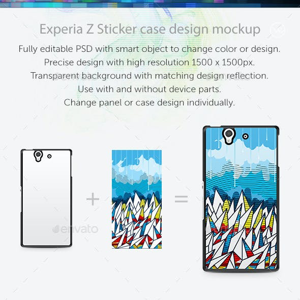 Experia Z Sticker Case Design Mockup