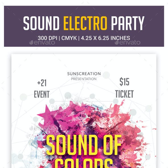 Color Sounds Party Flyer