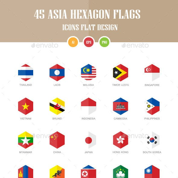45 Asia Flag Icons. Hexagon Flat Design