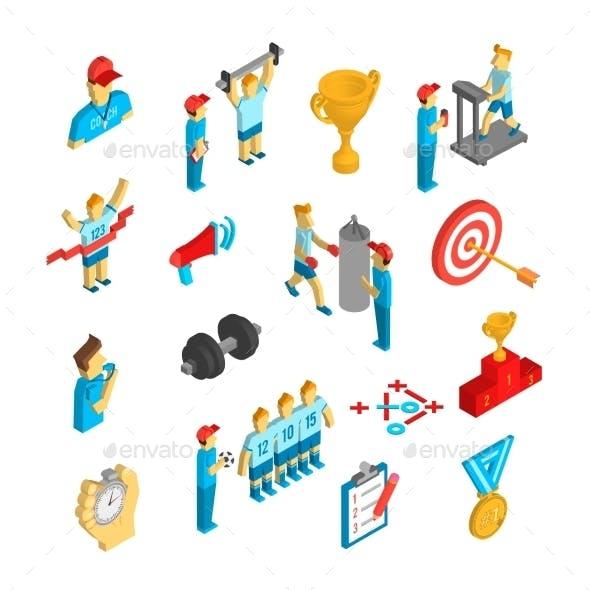 Coaching Sport Icon Isometric