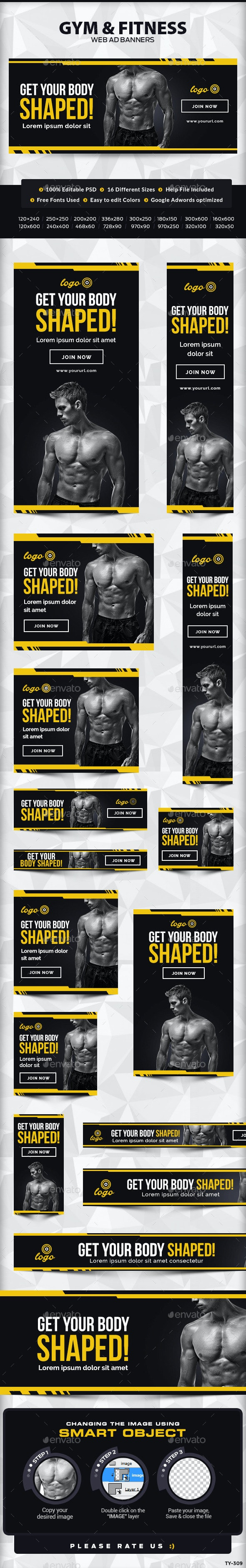 Gym and Fitness Banners - Banners & Ads Web Elements
