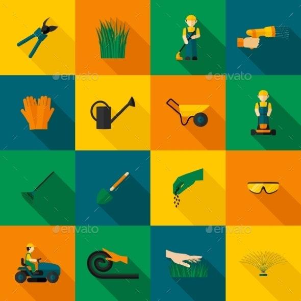 Lawn Man Icon Flat - Nature Conceptual