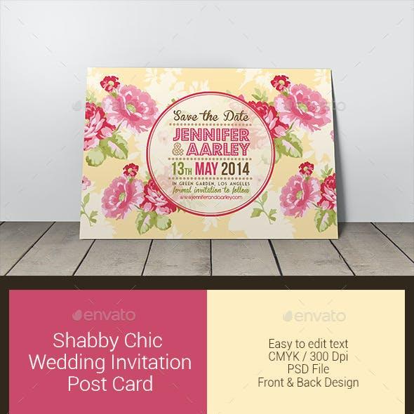 Shabby Chic Wedding Invitation Post Card
