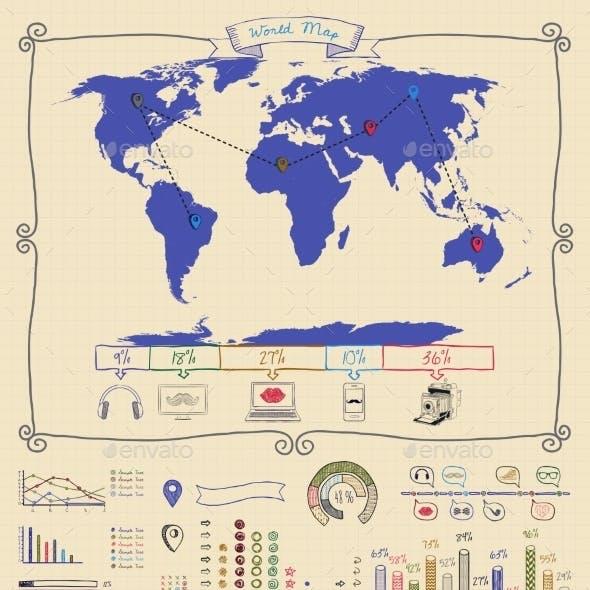 Pen Drawing Warld Map. Infographics