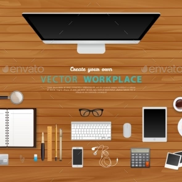 Workplace with Isolated Objects