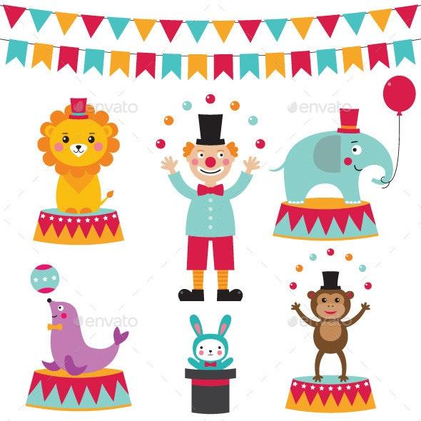 Circus Vector Set  - Animals Characters