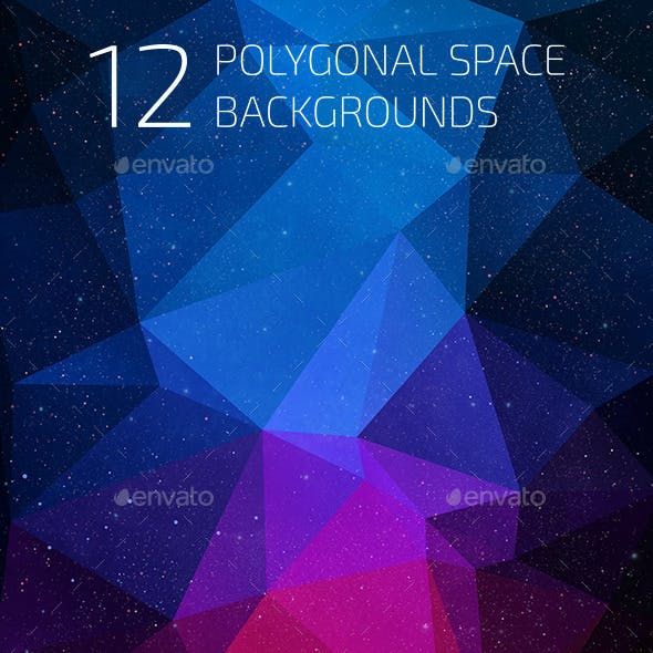 12 Polygonal Space Backgrounds