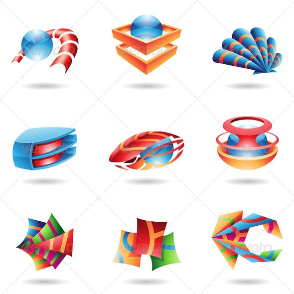 3D Colourful Abstract Icons