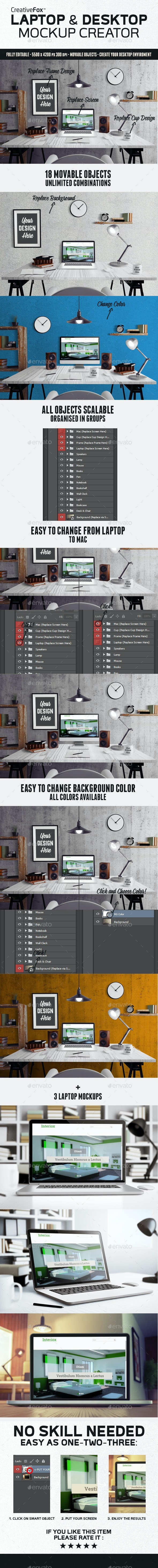 Laptop & Desktop Mockup Creator - Hero Images Graphics
