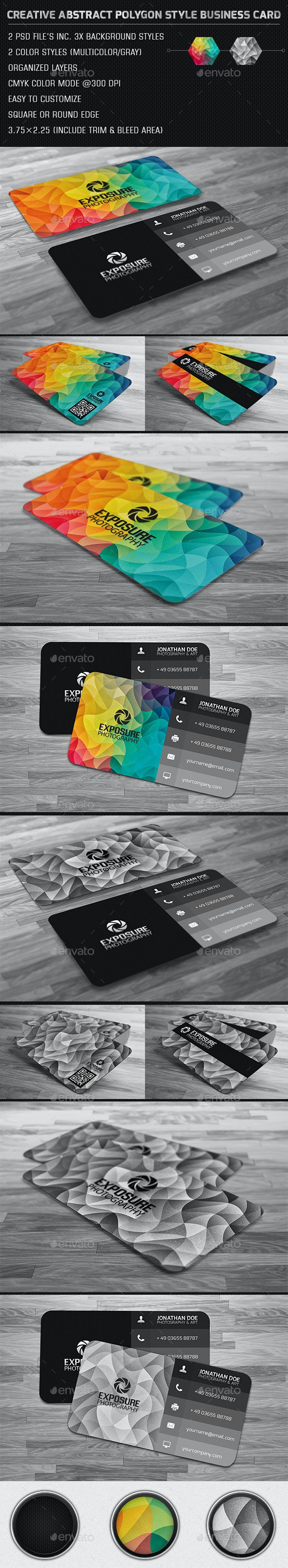 Creative Abstract Cubism Polygon Business Card - Creative Business Cards