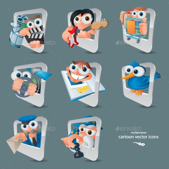 Cartoon Computer and Smartphone Icons