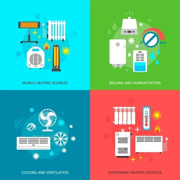 Heating and Cooling Icons Set