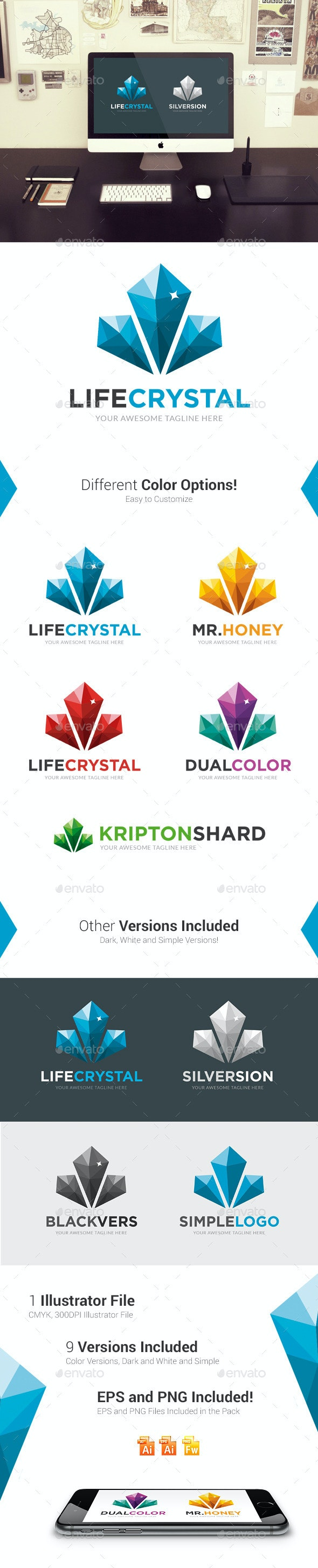 Life Crystal Logo Template - Abstract Logo Templates