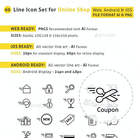 Line Icon Set for Online Shop & Apps