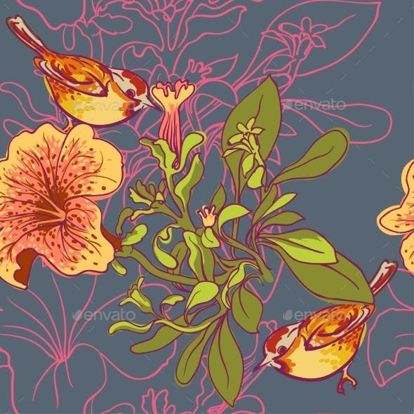 Seamless Floral Background with Petunia