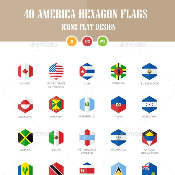 40 America Flag Icons. Hexagon Flat Design