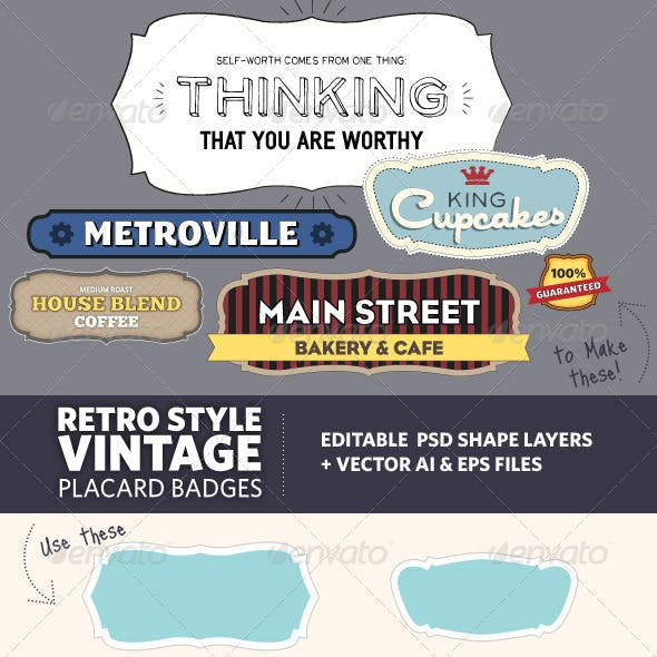 Retro Vintage Style Placard Banners
