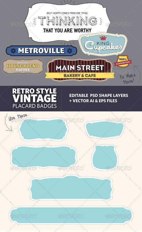 Retro Vintage Style Placard Banners - Decorative Vectors
