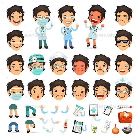 Set of Cartoon Woman Doctor Characters