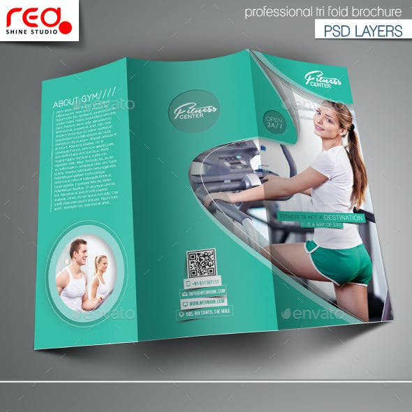 Fitness Club Trifold Brochure Template